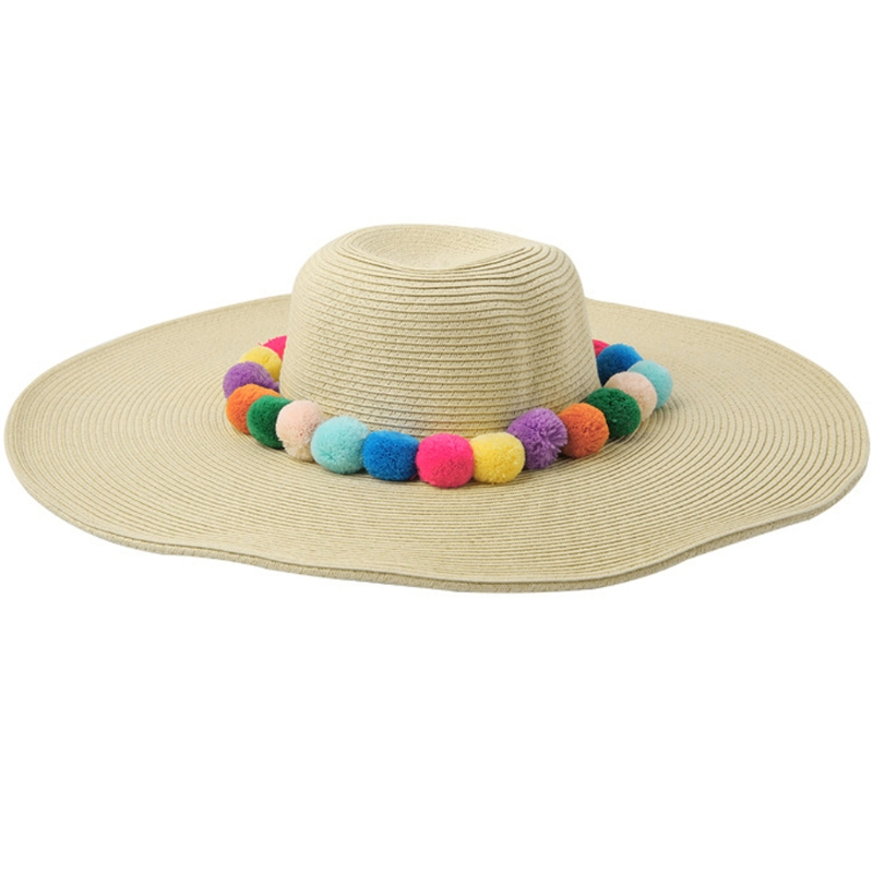 KLV moda Chic Mujer Pom bola decorado paja playa sombrero de verano ...