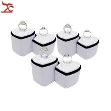 3 センチメートル ペア二重のリングタワー愛好家のリング展示収納ホルダー黒、白カップルリングディスプレイホルダースタンド 11*6*5