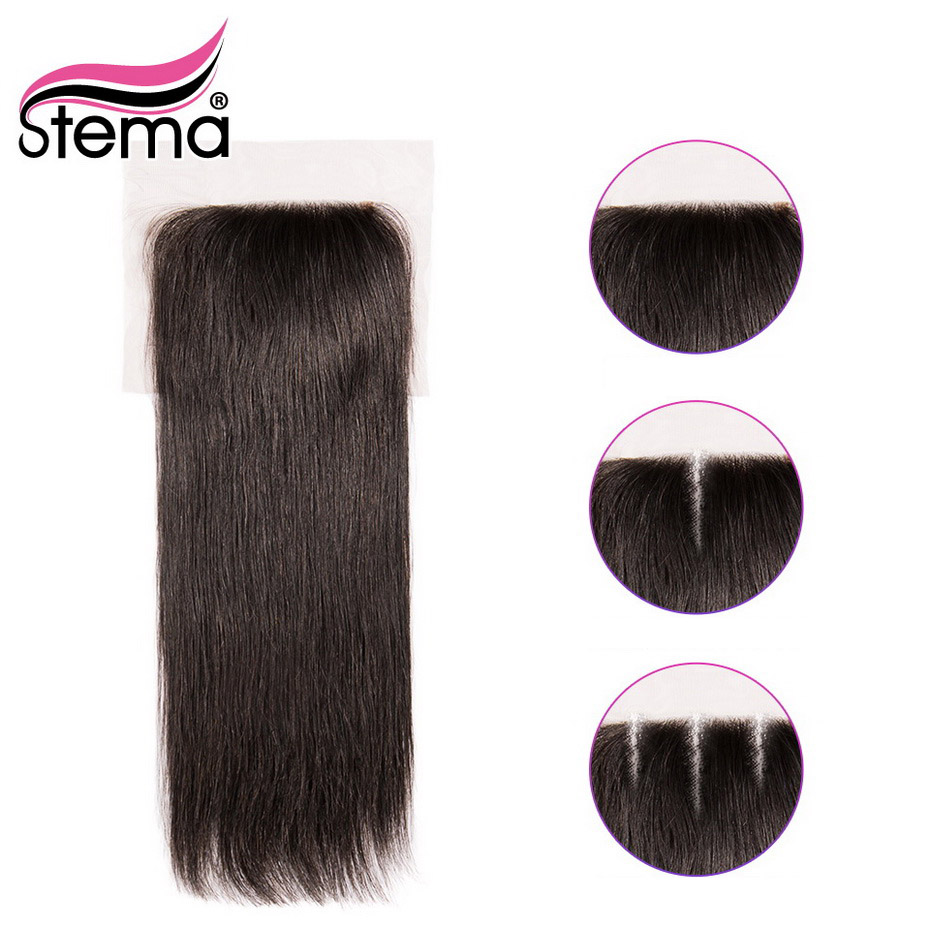 Stema Lace Closure Brazilian Straight Human Remy Hair Natural Color 4x4 Closure with baby hair Shipping