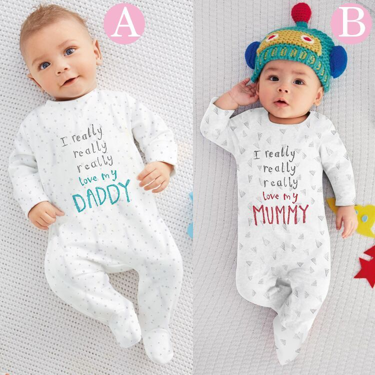 2016 Newborn Baby Rompers Printed I Love Mummy/ Daddy  Cotton Boys Girls Sleepsuit