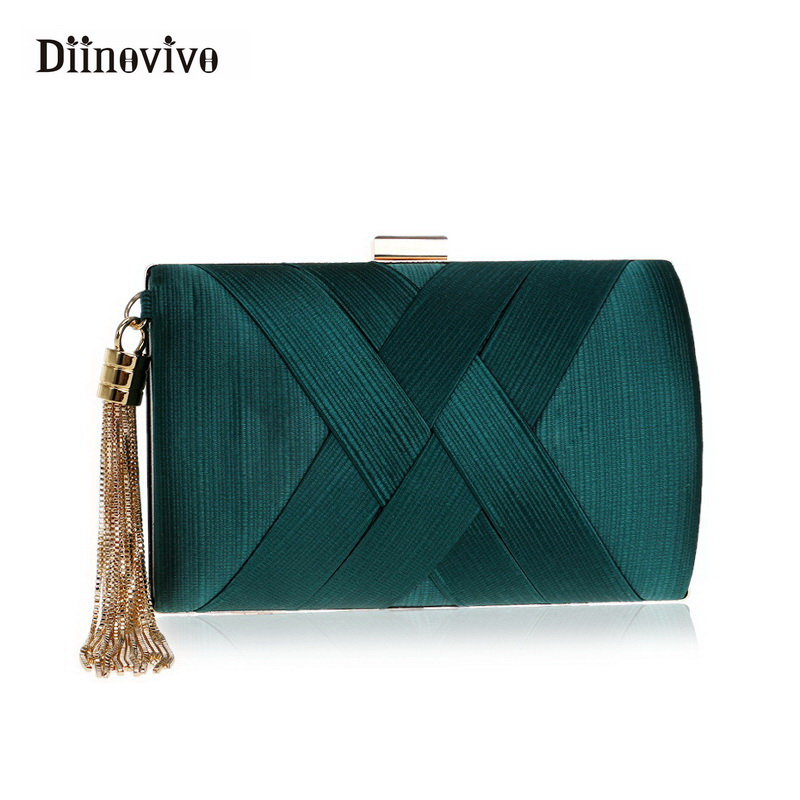 DIINOVIVO New Metal Tassel Lady Clutch Bag Chain Shoulder Handbags Classical Style Small Purse Day Evening Clutch Bags WHDV0359 2018 new arrival retro style box bag luxury handbags women bags designer chain tassel evening totes bag box clutch purse
