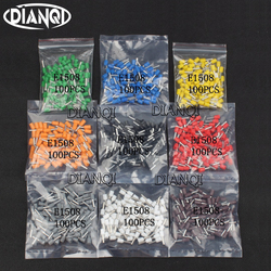 DIANQI E1508 Tube insulating Insulated terminals 1.5MM2 100PCS/Pack Cable Wire Connector Insulating Crimp Terminal Connector E-