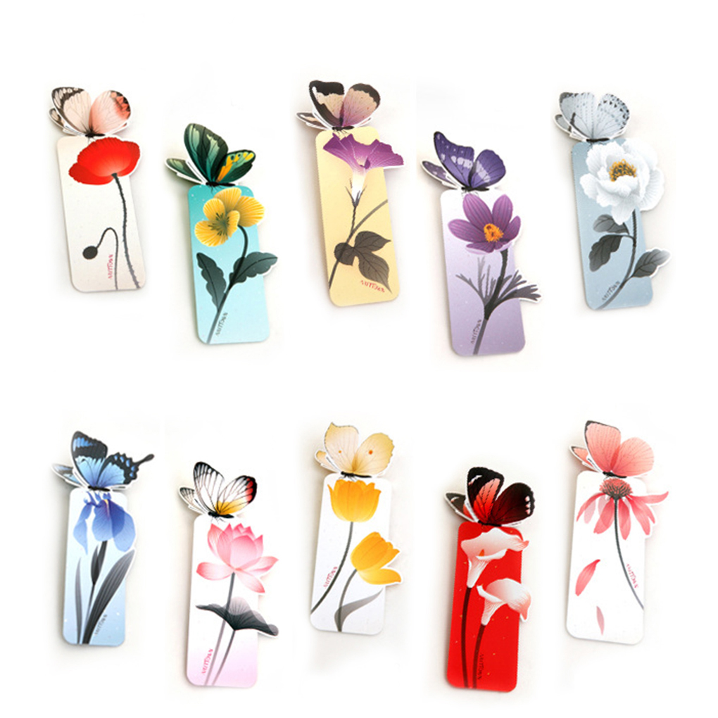 5Pcs Lovely Butterfly Bookmarks Cartoon Book Marks Paper Clip Office School Supply image