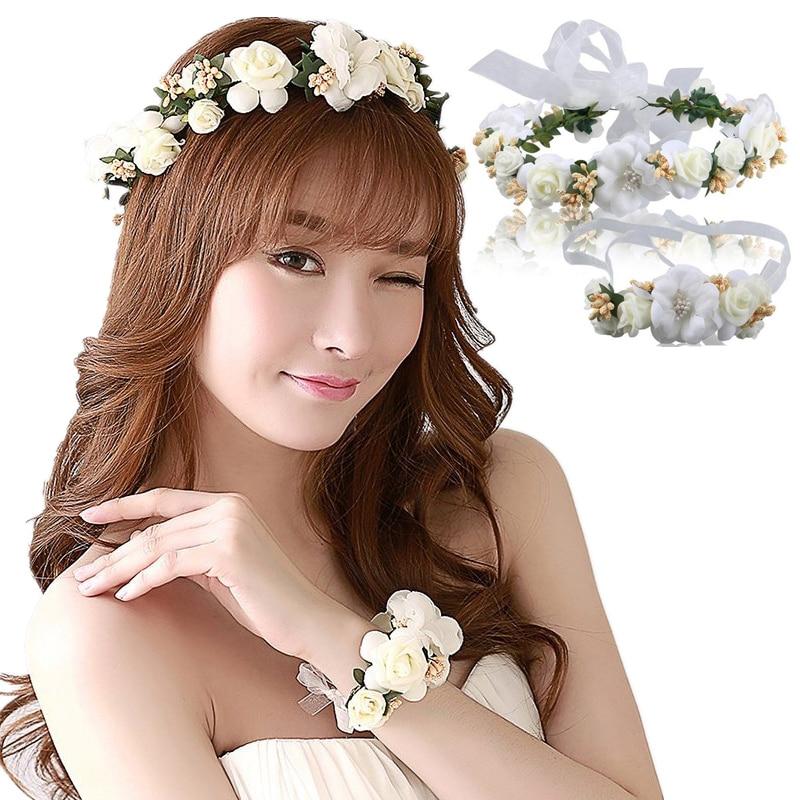 Бърза доставка булката сватба венец главата цвете китка цвете корсаж цвете момиче аксесоари за коса Kid страна Цветна корона и китката