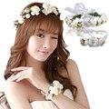 Fasthshipping cabeça coroa de flores de casamento da noiva de flor de pulso corsage flor acessórios para o cabelo menina Flor Da coroa Do partido do Miúdo & pulso