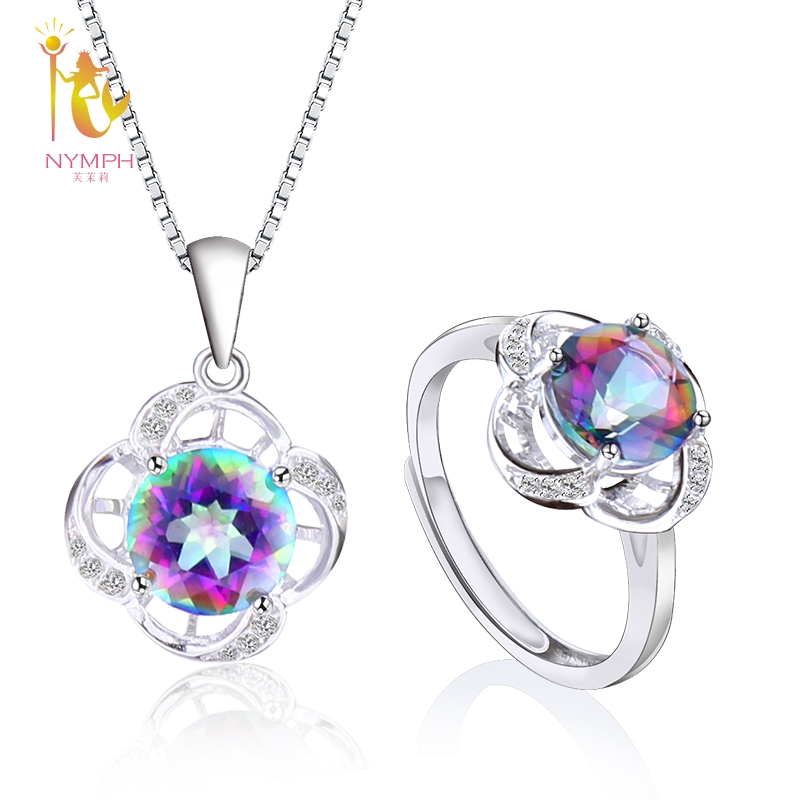 NYMPH Natural Gem Fine Jewelry Sets Crystal Ring Necklace Pendant 925 Silver Fashion Colorful Trendy For Women ROSE T240DJ trendy faux gem oval necklace for women