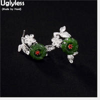 Uglyless Handmade Women Ethnic Leaves Stud Earrings Real Solid 925 Silver Flower Fine Jewelry Natural Green Jade Studs Jasper