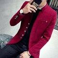 Frete grátis jaqueta masculina 2016 homens Coreano outono inverno curto casacos estilo Britânico de lã & blends magro falso caxemira dos homens casaco