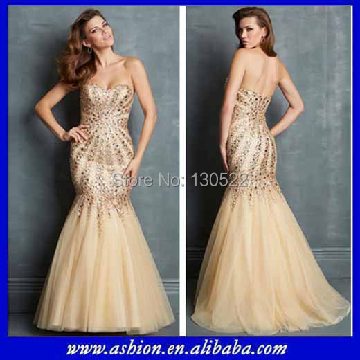 Free Shipping ED 2781 Luxury design mermaid gold evening dress ...