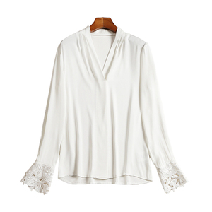 Image 4 - 100% Silk Blouse Women White Shirt Elegant Design Solid V Neck Embroidery Long Sleeves Office Top New Fashion 2019