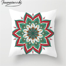 Fuwatacchi Green Pink Mandala Cushion Cover Circle Flower Throw Pillow Floral Pillowcases