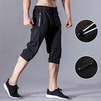 Мужские штаны для бега, баскетбольные футбольные тренировочные штаны, Спортивные укороченные брюки 3/4, узкие брюки, спортзал фитнес бег, спо...