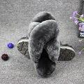 Winter Warm Cute Indoor Thick Wool Slippers Women Fashion Furry Sheepskin Slippers Australia Genuine Sheepskin Slippers