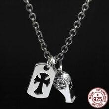 S925 sterling silver herr halsband personlighet mode klassisk smycken punk stil visselpipa kors form 2018 ny gåva att skicka