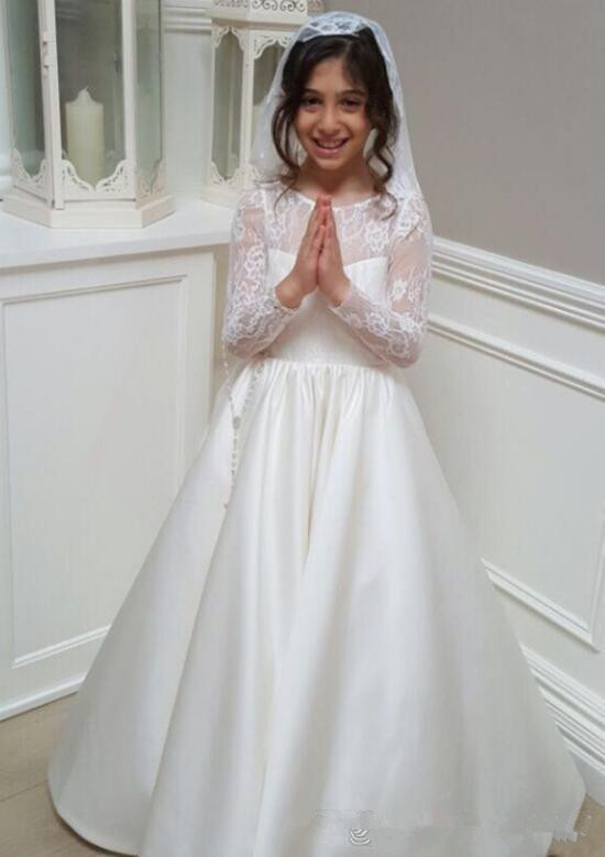 2019   Flower     Girl     Dresses   A Line Jewel Long Sleeve Floor Length   Girls   Pageant   Dresses   With Lace Satin For Wedding First Communio