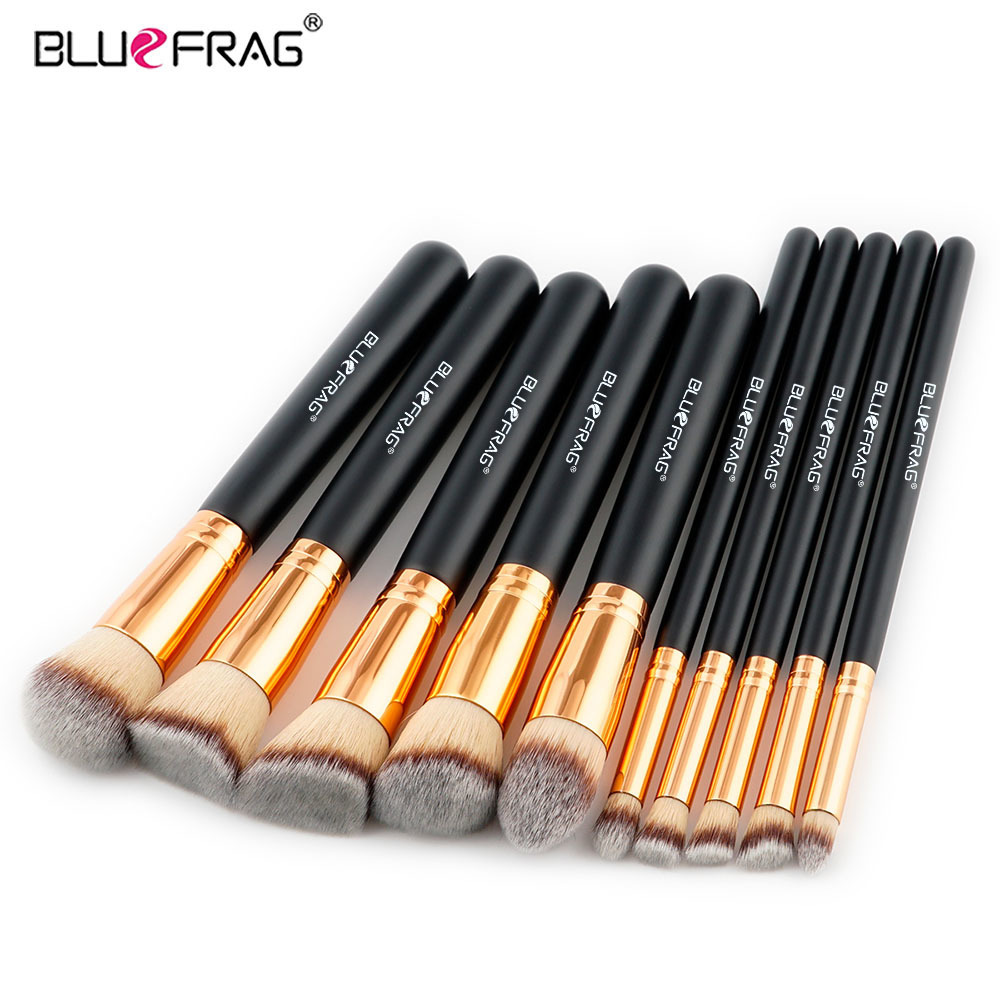 BLUEFRAG New 10pcs Makeup Brush Set Foundation Makeup Brushes Cosmetic Tool Highlight Beauty Kits Facial Contour Brush new design stamp seal shape face makeup brush foundation powder blush contour brush cosmetic facial brush cosmetic makeup tool