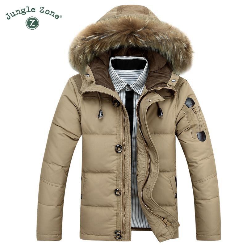 JUNGLE ZONE brand Winter <font><b>White</b></font> Duck Down Keep Warm Coat Jacket Casual Men