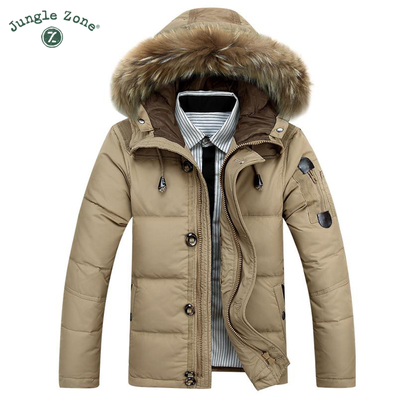 JUNGLE ZONE brand Winter White Duck Down Keep Warm Coat Jacket Casual Mens Down Jacket Casual warm men down jackets YR8232
