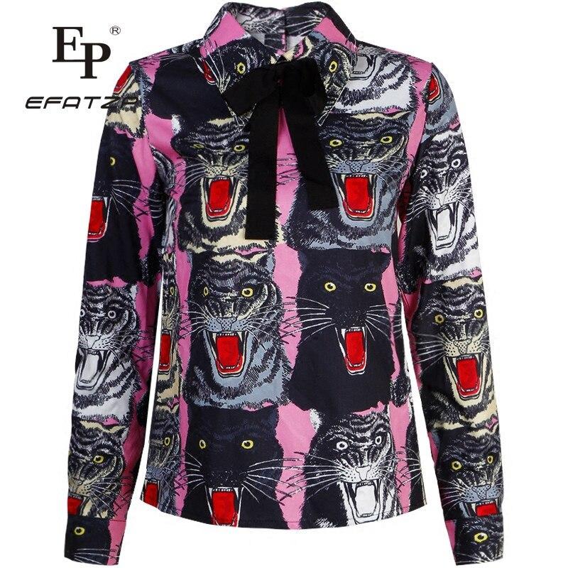 5a8086685ba0a Nouvelle Mode 2018 Piste Designer Blouse Chemise de Haute Qualité Femmes  Vintage Manches Longues tête de Tigre imprimé Arc Shirt dans Blouses    Chemises de ...