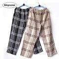 Calças de Pijama homens roupa interior calças Bottoms sono xadrez salão Pantalon Piyamas Jovenes Pijama fina gaze de algodão duplo Z3005