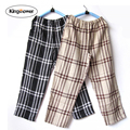 Pajama Pants Men Underwear Trousers Sleep Bottoms Plaid Lounge Pantalon Piyamas Jovenes Pijama Thin Double Cotton Gauze Z3005