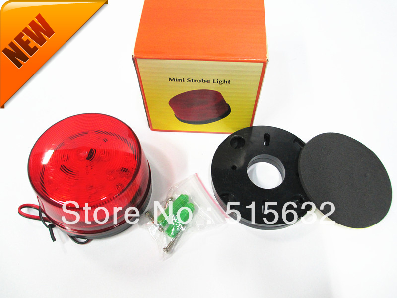 RED LED 12 Volt Security Alarm Strobe Signal Warning Siren Red Flashing Light With Retail Box