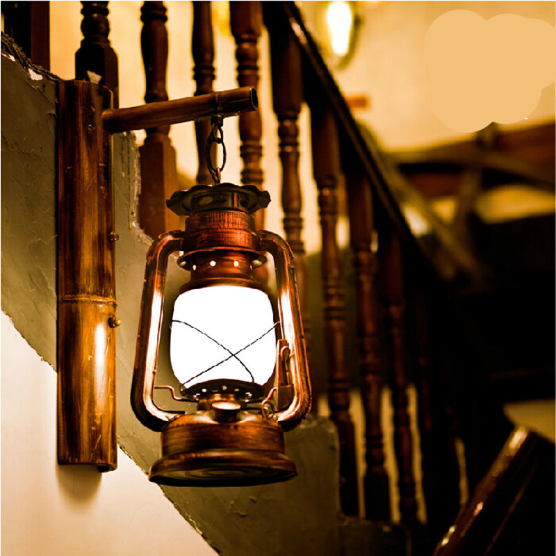 100% Hand Crafted Iron Lantern Led e27 Wall Lamp for Bar Entrance ...