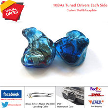HS Áudio T10 10/Drivers de Armadura Balanceada BAs 20 CIEMs Monitores de Estúdio Fase de Isolamento de Ruído de Ouvido Ajuste Personalizado Fone de Ouvido