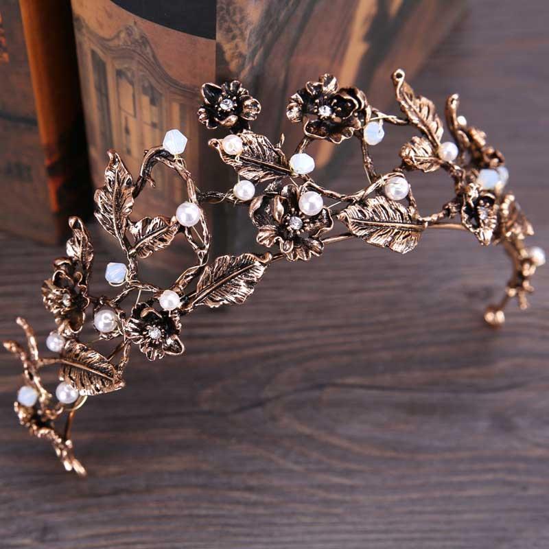 Vintage Antique Gold Crown Headband Wedding Bridal Hair Baroque Tiara Rhinestone