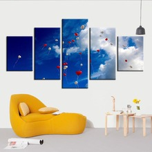 HD Print Painting Modular 5 Panel Sky Heart Balloon Pictures Home Decor Scenery Poster Wall Art Modern Living Room Canvas Framed