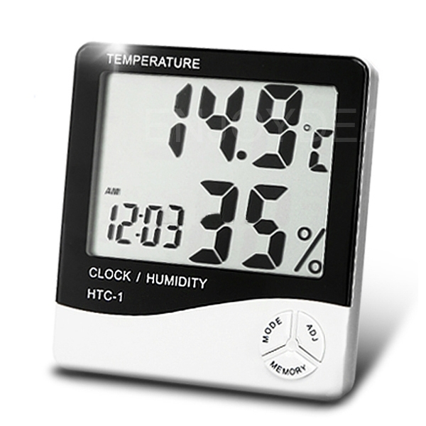 LCD Digital Thermometer Humidity Meter Hygrometer Room Temperature Alarm Clock