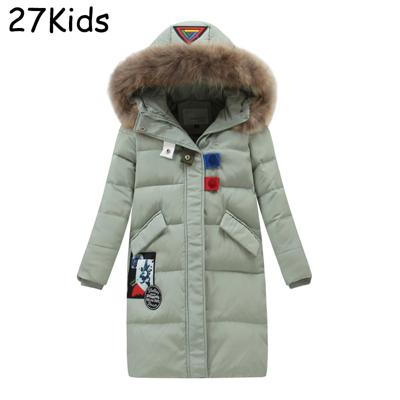 2017 Winter Duck Down Jacket Girl Long Coat Parkas Thickening Female Kids Warm Outerwear Coats Real Raccoon Collar High Quality