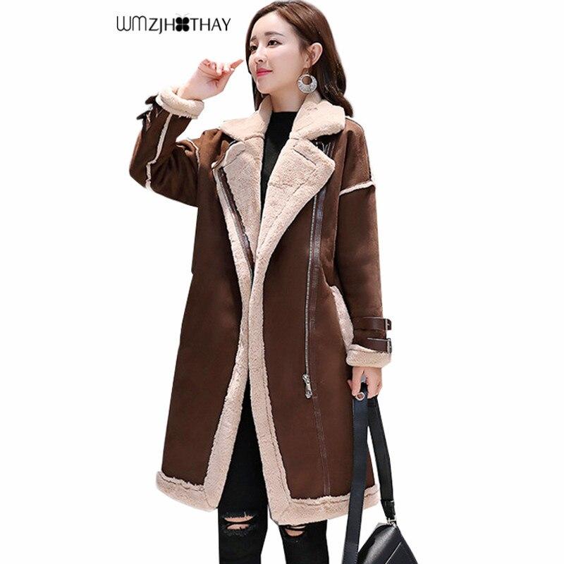 Plus la Taille 2xl Femmes Winter2018 Peau de Daim Outwear Haute Qualité Coupe-Vent Tranchée Manteau Chaud Moteur Laine Daim Point Lâche Manteaux