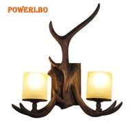 Retro wall lamp living room American country deer corner lamp aisle bedroom bedside lamp Nordic antler wall lamp guest