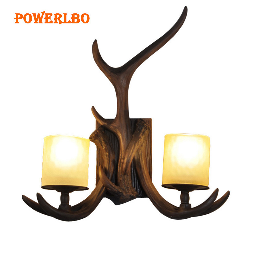 Retro wall lamp living room American country deer corner lamp aisle bedroom bedside lamp Nordic antler wall lamp guest