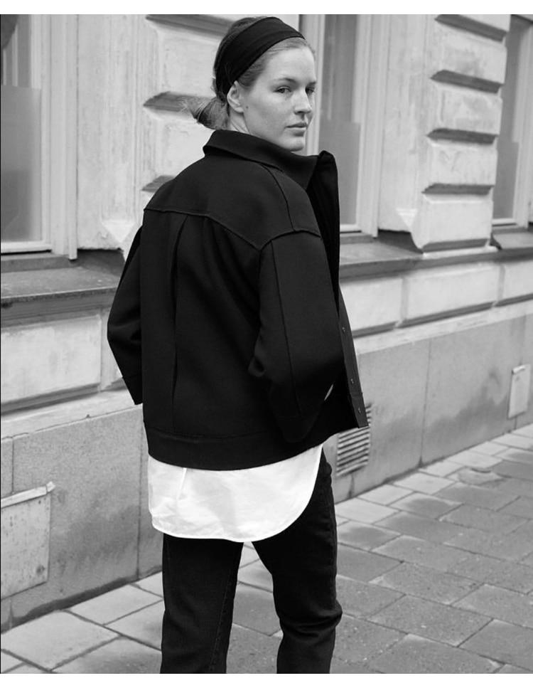 Courte automne Revers Noir Laine Dernières Top Haute Silhouette De Surjeteuse 2018 hiver Veste Détail Femmes Mélange Aucun Mode fin BwBzn0O