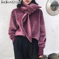 TWOTWINSTYLE Velvet Scarf Collar Sweatshirts Women Autumn Winter 2017 Long Sleeve Big Size Loose Pullover Famale