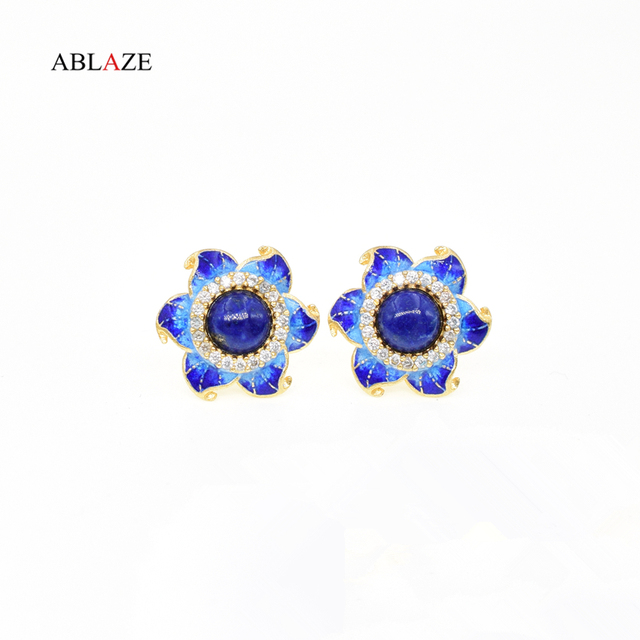 Quality Korean Natural Lapis Lazuli Stones Gold Star Ear Studs Earrings Cute Enamel Gem Sterling