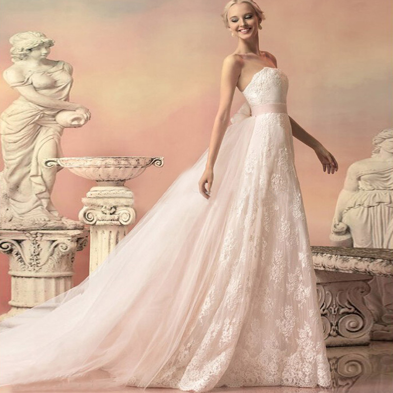 2016 Beach Wedding Dresses Detachable Train In Corded