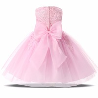 Fashion New Wedding Lace Tulle Flower Girl Dress Princess With Big Bow Ball Gown Party Bridesmaid