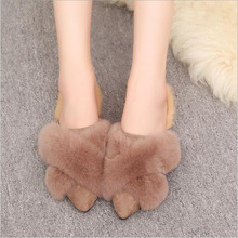 лучшая цена Women Winter Warm Ful Slippers Women Slippers Cotton Sheep Lovers Home Slippers Indoor Plush Size House Shoes Woman wholesale
