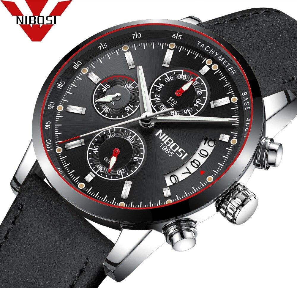 Nibosi hombres reloj Top marca de lujo de cuero masculino impermeable del cuarzo del deporte del cronógrafo Militar reloj hombres reloj
