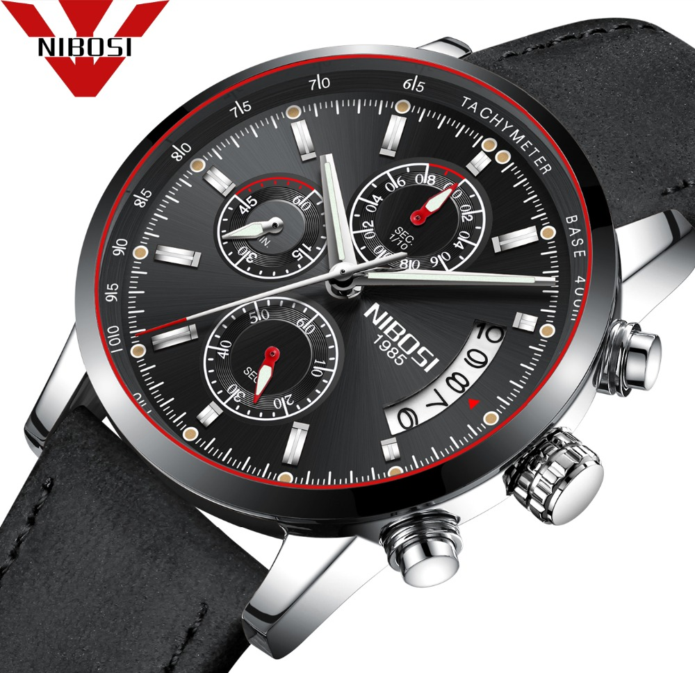 Reloj NIBOSI para hombre, reloj de pulsera militar, cronógrafo de cuarzo, resistente al agua, de cuero para hombre, marca superior, reloj Masculino, reloj Masculino