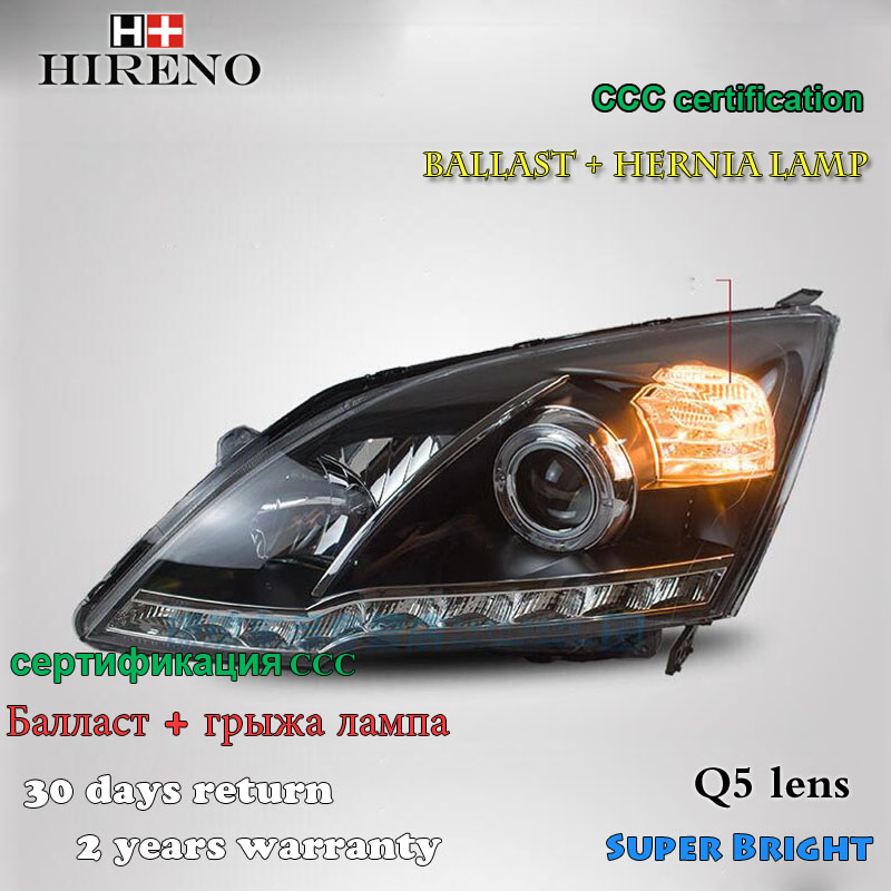 Hireno Headlamp for 2007-2011 Honda CRV CR-V Headlight Assembly LED DRL Angel Lens Double Beam HID Xenon 2pcs hireno car styling headlamp for 2003 2007 honda accord headlight assembly led drl angel lens double beam hid xenon 2pcs