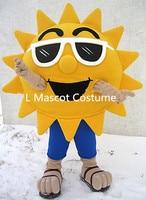 Summer Beach Sunshine Cool Joyful Sunglasses Sun Mascot Costume Custom Cartoon Character Mascotte Suit Kit Fancy Dress