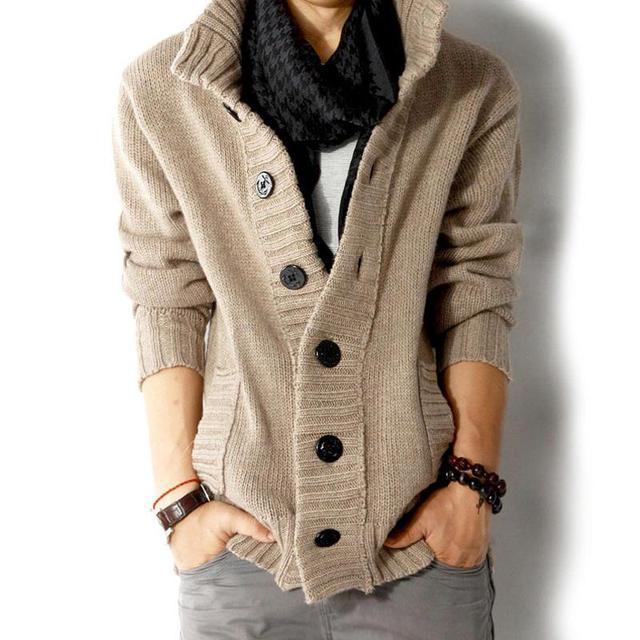 Suéter de Los Hombres Gruesa de Algodón Caliente Color Sólido Del Collar Del Soporte Chaquetas Para Hombre Outwear Botón Suéteres Homme Tirón de Punto Cardigans Escudo