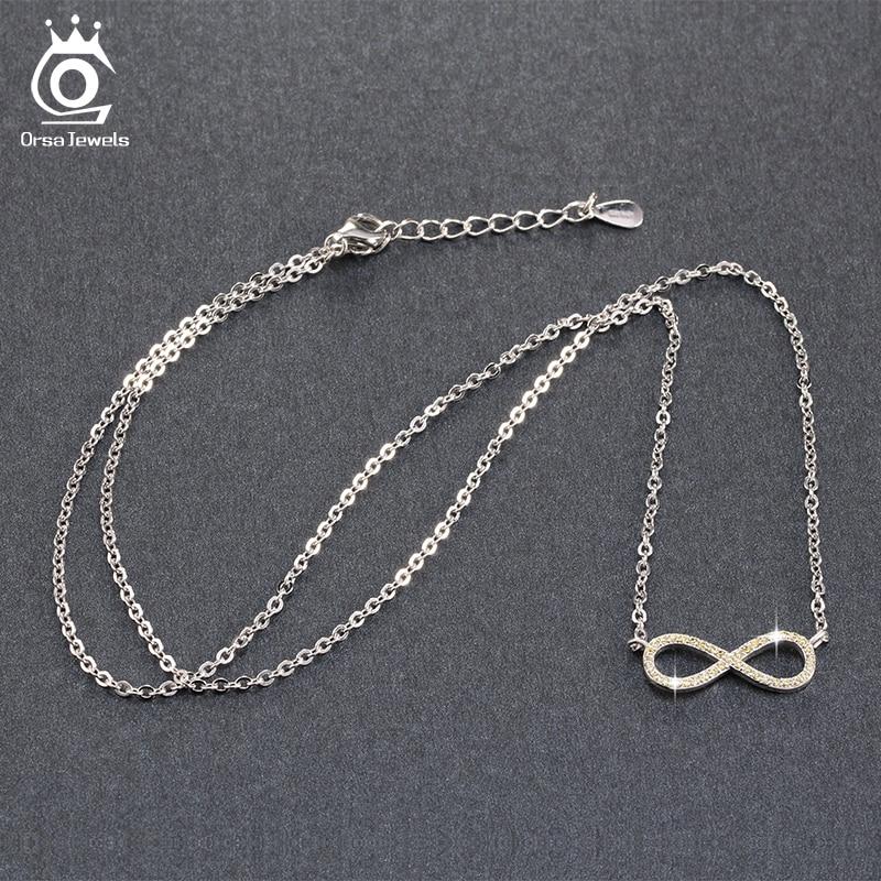ORSA JEWELS Silverfärg Infinity Hängsmycke Halsband Full Shiny - Märkessmycken - Foto 4