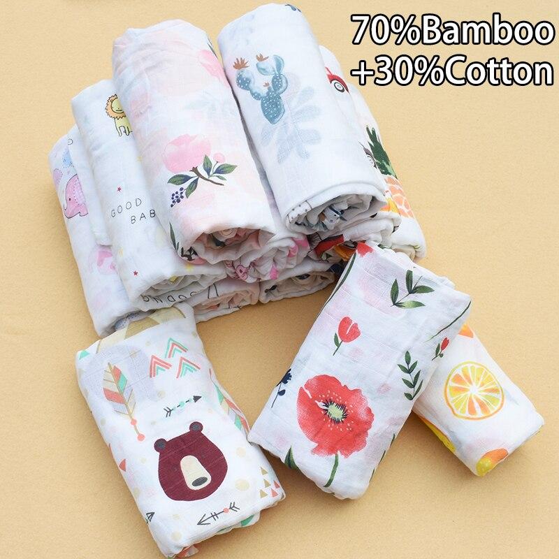 Rosa cisne 70% bambu + 30% algodão bebê musselina swaddle cobertores macio respirável bebê urdidura infantil toalha de banho envoltório bebê swaddle