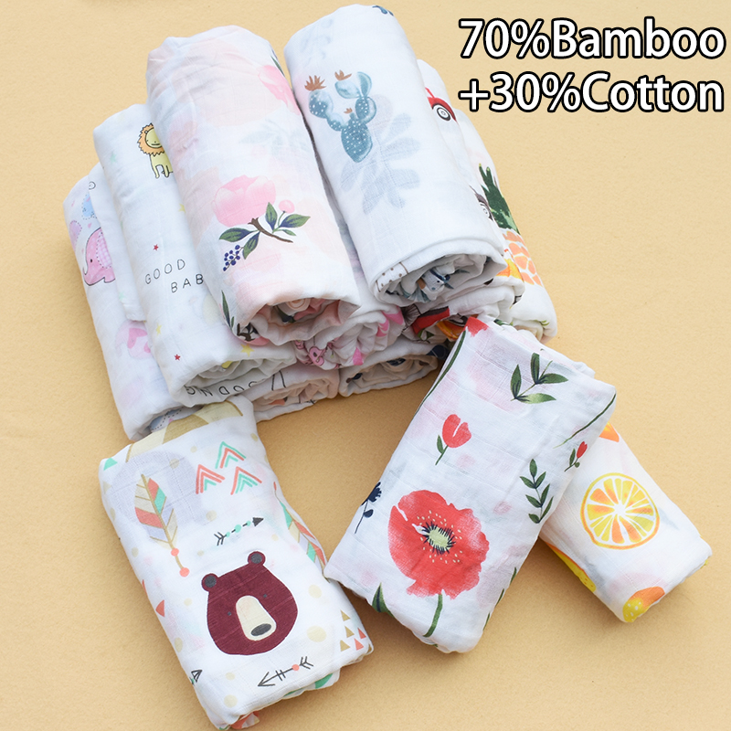 Pink Swan 70%Bamboo+30%Cotton Baby Muslin Swaddle Blankets Soft Breathable Baby Warp Infant Bath Towel Wrap Baby Swaddle