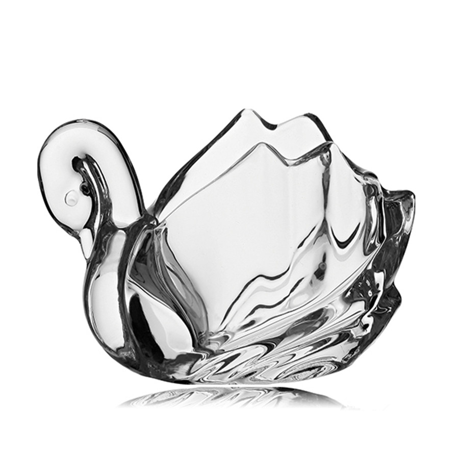 Miniature crystal ornaments - 11 16cm Tranparent Swan Shape Crystal Figurines Miniatures Glass Ornaments Decoration For Home China